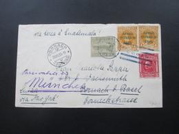 Guatemala 1933 Luftpostbrief. Marken Mit Blauem Aufdruck Aereo Interior Dornach Schweiz Und Weitergeleitet Nach München - Guatemala