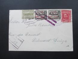 Guatemala 1929 Luftpostbrief. Marken Mit Rotem Aufdruck Postal Aereo Nach Delemont Schweiz Violetter Balkenstempel - Guatemala