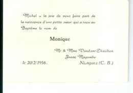 FP Naissance Monique Vandam-Chaidron, Niangara (Congo) 10,6 X 7 - Birth & Baptism