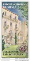 Privatsanatorium Dr. Kienle 1956 - Quellenhof Bad Wildungen - Faltblatt Mit 14 Abbildungen - Baviera