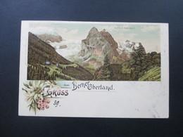 Schweiz 1900 Postkarte Gruss Vom Berner Oberland Rosenlaui. Ducksache Nach Luzern Villa Wiki Weitergeleitet Nach Faido - Covers & Documents