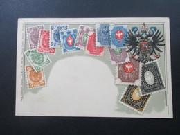 AK Um 1900 Russland Briefmarken Reliefkarte Russie. Ottmar Zieher Munich (Baviere) Carte Philatelie Depose - Stamps (pictures)
