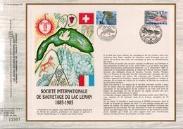 1985 DOCUMENT FDC SOCIETE INTERNATIONALE DE SAUVETAGE DU LAC LEMAN - EMISSION CONJOINTE - Documents De La Poste