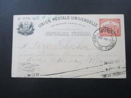 Peru 1910 Ganzsache In Die USA Gesendet. Correos Del Peru Huancayo - Peru