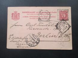 Ned. Indie 1899 Ganzsache Toeren Java Nach Berlin Gesendet Mit 6 Stempel!! Interessante Karte!! - Nederlands-Indië