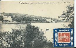 """PORTE TIMBRE """" HUEGOAT Gd HOTEL D'ANGLETERRE """" Sur Carte Postale HUELGOAT ( Pas Courant ) - Publicités"""