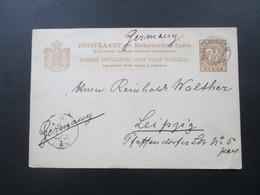 Ned. Indie Java 1889 Ganzsache Nach Leipzig Gesendet! - Nederlands-Indië