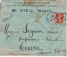 Enveloppe En-tête - MEURTHE Et MOSELLE - M. VIEU - Vins - Location De Wagons-Réservoirs - Foudres - NANCY - Documentos Históricos