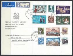 Uganda 1962 - Independence Set On Typed Addressed Registered FDC SG99-110 Cat £26+++ See Description Below - Uganda (1962-...)