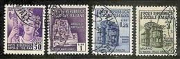1944 Italia R.S.I. Italy RSI MONUMENTI DISTRUTTI II 50c+1L+1.25L+3L Senza Fil. (507+509/11) Usati - Oblitérés