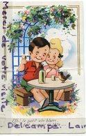 - Enfant - Découpi, Enfants, Ah Le Petit Vin Blanc..., écrite, Paillettes, Datée 1946, Pli, Scans. - Cartes Humoristiques