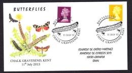 6.- GREAT BRITAIN 2013. SPECIAL POSTMARK. BUTTERFLIES. CATERPILLAR - Schmetterlinge