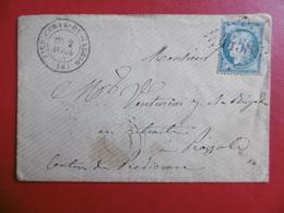 FRANCE CORSE LETTRE GC 4458 DE PIEDICORTE DI GAGGIO VIA PIAZZOLE CACHETS 1874 Cachets OR - 1849-1876: Période Classique