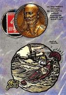 CPM Jihel Tirage Signé 30 Exemplaires Numérotés Signés Timbre Monnaie Sous Marin Tirpitz Kaiser - Coins (pictures)