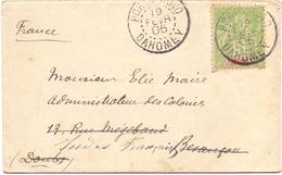 Dahomey Lettre Affranchie A 5 C Tarif Imprimé De Porto Novo Pour Besancon Doubs Reexpedié Inde Francaise - Dahomey (1899-1944)