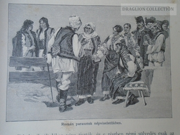 Romania Ukraine -Bukovina Bucovina- Romanian Peasants -Costumes   Old Print Ca 1890's  OM BUKOWINA 185 - Stiche & Gravuren