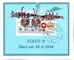 """(DDR-Bl) DDR Mi. Block 53 """"Gemeinsamer Weltraumflug UdSSR-DDR (II)""""  TSt. 27.6.1990 FINSTERWALDE - [6] Democratic Republic"""