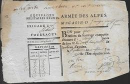 Armée Des Alpes - 2 Bons De Fourrage De L'an 3 - Documents