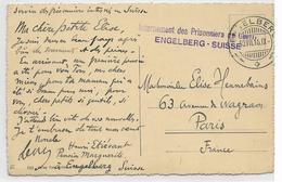 Cachet INTERNEMENT DES PRISONNIERS DE ENGELBERG-SUISSE -30VII.16   SUR CPA AVEC VUE SUR ENGELBERG- 2 SCANS - Marcofilie