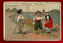 Chromo Gaufrée Chocolat Poulain Nos Paysans N° 3 Le Bac - Bateau Transport Enfants ... - Poulain