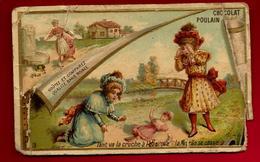Chromo Gaufrée Chocolat Poulain Le Pot De Terre Et Le Pot De Fer Tant Va La Cruche ... - Enfants Poupée Fable .. Abimée - Poulain
