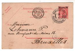 Nr. 8684,  Ganzsache Österreich, 20 Para, Adrianopel, Edirne, Nach Brüssel - Enteros Postales