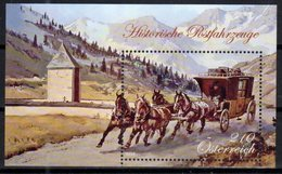 AUSTRIA,  2018, MNH, HISTORICAL POSTAL COACHES, HORSES, MOUNTAINS, S/SHEET - Post