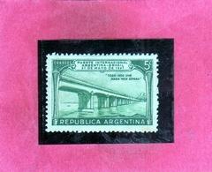 ARGENTINA 1947 INTERNATIONAL BRIDGE CONNECTING WITH BRAZIL OPENING CENT. 5c MNH - Usati