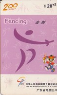 TARJETA TELEFONICA DE CHINA USADA (FENCING - ESGRIMA, J0111(34-2). (018) - Juegos Olímpicos