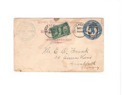 World`s Columbian Exposition 1893 - Übersee-GS-Brief Mit Zusatzfrankatur U. Ankunftsstempel Frankfurt - Briefe U. Dokumente