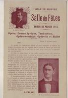 Ville De Belfort Brochure Salle De Fêtes, Pâques 1914 - Programmes