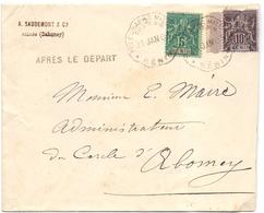 """Benin Lettre Obl Telegraphie Militaire Poste N ° 6  """" Allada """" Pour Abomey  Griffe Après Le Départ - Lettres & Documents"""