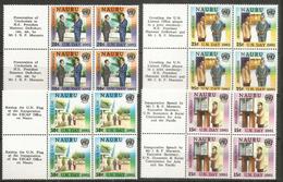 Entrée De L'île NAURU  Aux  Nations-Unies  1981.  4 Blocs De 4 Neufs ** Avec Vignettes. - Nauru