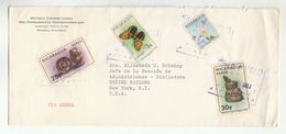 1967 NICARAGUA To UN NY USA Cover BUTTERFLY POTTERY FLOWER Stamps United Nations Butterflies Insect Flowers - Nicaragua
