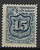 SALVADOR   -    Timbres TAXE   -  1897 .  Y&T N° 22 * - El Salvador