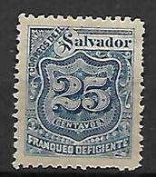 SALVADOR   -    Timbres TAXE   -  1897 .  Y&T N° 23 * - El Salvador
