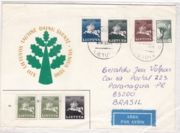 XIII LEITUVOS TAUTINE DAINU SVENTE. VILNIUS 1990 SPECIAL COVER CIRCULEE BRASIL YEAR 1992- BLEUP - Litouwen