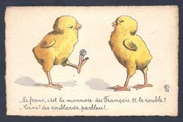 Carte Humoristique Avec 1 F Représenté Et Humour Sur Le Rouble... - Monnaies (représentations)