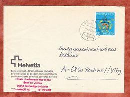 Brief, Schweizerische Krankenkasse Helvetia, EF Handwerkerschild Baecker, Olten Nach Rankweil 1980 (56607) - Suisse