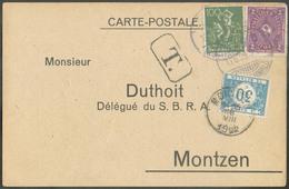 Allemagne CP Affranchie à 2 M.100pfg   Obl. Sc MATERWALD (in WESTERWALD) Vers MONTZEN (cantons De L'EST) Le 15-VIII-1922 - Postage Due