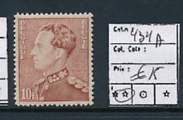 BELGIQUE POORTMAN COB 434A MNH - 1936-1951 Poortman