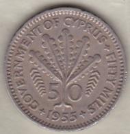Chypre Cyprus 50 Mils 1955 , Elizabeth II , KM# 36 - Cyprus