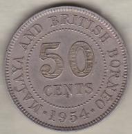 Malaya And British Borneo 50 Cents 1954 , Elizabeth II,  KM# 4.1 - Malaysie