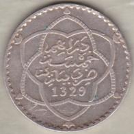 Maroc. 5 Dirhams (1/2 Rial) AH 1329 PARIS . AL-HAFIZ. ARGENT - Morocco
