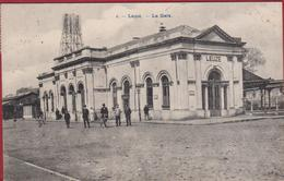 Leuze En Hainaut La Gare Station Statie RARE ZELDZAAM Animee Geanimeerd (pli) - Leuze-en-Hainaut