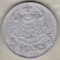 MONACO. 5 FRANCS 1949 . LOUIS II - Monaco