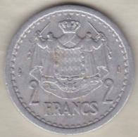 MONACO. 2 FRANCS Sans Date (1943). LOUIS II . ALUMINIUM - 1922-1949 Louis II