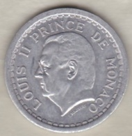 MONACO. 2 FRANCS Sans Date (1943). LOUIS II . ALUMINIUM - Monaco