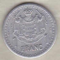 MONACO. 1 FRANC Sans Date (1943). LOUIS II . ALUMINIUM - Monaco