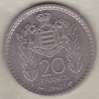 MONACO .20 FRANCS 1947 .LOUIS II .Cupro-nickel - Monaco